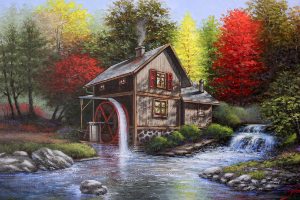 "WATER MILL AT AUTUMN CREEK - 24""x36"" (Use Code WM70)"